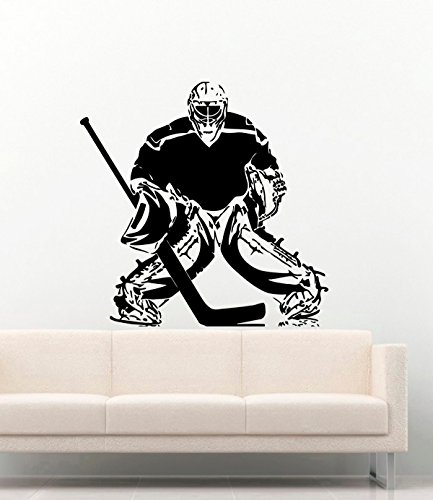 Sport Vinyl Wall Decals Hockey Goalie Goalkeeper Vinyl Decor Stickers Murals Vinyl MK4262