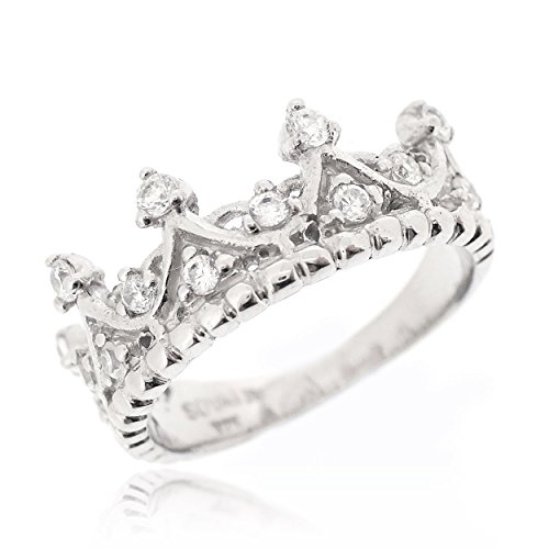 SOVATS Crown Tiara Princess Ring Set With White Cubic Zirconia For Women 925 Sterling Silver Rhodium Plated - Simple, Stylish &Trendy Nickel Free Ring, Size 7