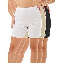 Underworks Womens 100% Cotton Cuff Leg Bloomers 8-inch Inseam White-Beige-Black 3-Pack X-large 41-42 Hips