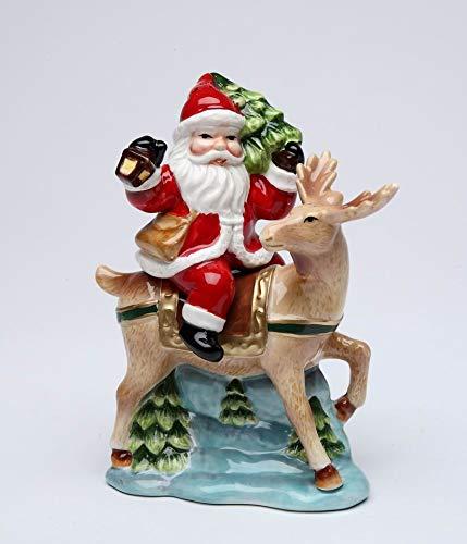 Fine Ceramic Christmas Holidays Santa Claus Riding Reindeer with Christmas Tree Salt & Pepper Shakers Set, 5.5