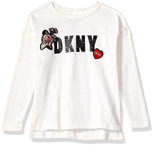 DKNY Girls' Big Long Sleeve Stone Patch Top, egret, 14/16