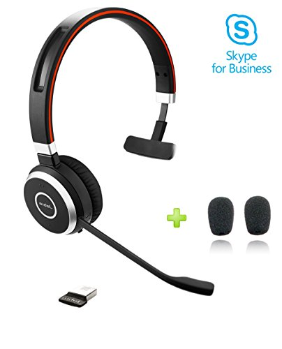 Jabra Evolve 65 Bluetooth Mono MS Headset Bundle | Microsoft Skype Lync Certified, Windows PC, MAC, Smartphone, Streaming Music, IP Softphones, NFC | Bonus Premium Microphone Cushions, 6593-823-309-C ()