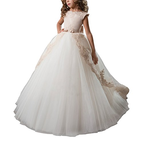 (Abaosisters Fancy Flower Girl Dress Satin Lace Pageant Ball Gown Champagne Size 12)