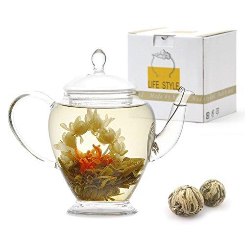 (Teavivre Princess Flowering Teapot Gift Set - 15 oz Borosilicate Glass Teapot, 2 Handmade Blooming Flower Tea Balls)