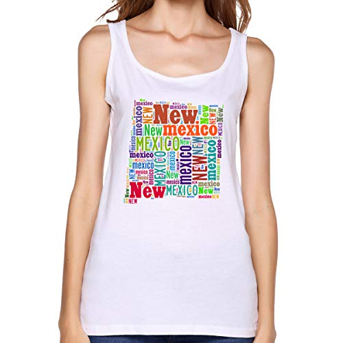 (Xinjinhon Women's State Map New Mexico NM Word Cloud Cotton Casual Tank Tops Graphics T-Shirts Tee White)