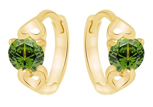 Round Cut Simulated Peridot Huggie Hoop Earrings in 14K Yellow Gold Over Sterling Silver