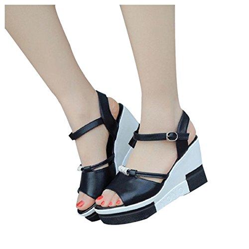 Sommar Sandaler, Kvinna Inkach Sommar Sandaler Peep-toe Höga Skor Damer Roman Sandals Flip Flops Svart
