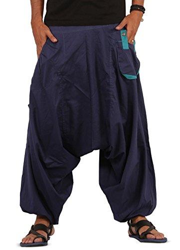 Mens Boys Boho Hippie Baggy Cotton Wide Leg Harem Pants - Drop Pockets Style (Blue) ()