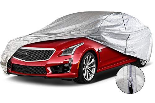 "Leader Accessories Car Cover Aluminium +Cotton Driver Door Zipper UV Resistant Sedan Cover for Cars Length Up to 200"""