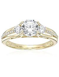 14k White Gold Cubic Zirconia Round Brilliant Three-Stone Channel Fancy 3-Split Engagement Ring