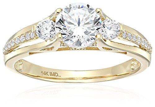 14k Yellow Gold Cubic Zirconia Round Brilliant Three-Stone Channel Fancy 3-Split Engagement Ring, Size 7.5 (14k Gold Yellow Ring Split)