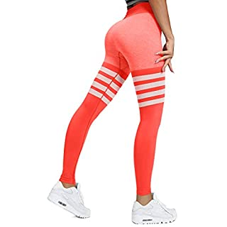 HURMES Women's High Waist Workout Seamless Thigh High Sock Leggings Striped Tummy Control Vital Ombre Yoga Pants Gym Sports Stretchy Tights Orange