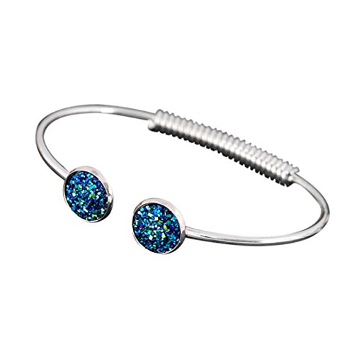 - LLguz Simple Women Fashion Alloy Punk Cuff Bracelet Matte Sequins Adjustable Bracelet Jewelry (Colorful E)