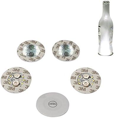 Bottle Light Glorifier Glow Wine Bottle Sticker LED Light for Bottle  Coaster (Warm White 5pcs)