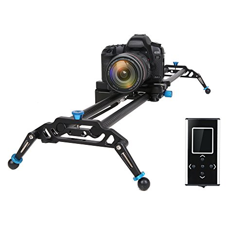 GVM Motorized Camera Slider DSLR Dolly with Automatic Looping Real Time Shooting Time Lapse Shots, Very Light Carbon Fiber, 32'' L by GVM