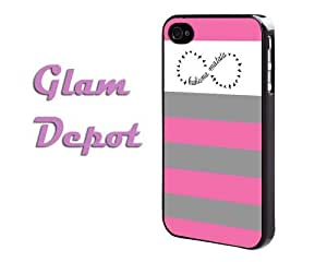Grey Gray and Pink Stripes iPhone 4 4s Case by GD