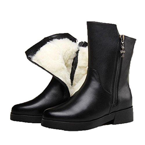 Bottes en cuir véritable bottes court talon plat en laine à talons bas plus d'hiver de velours Chaussures Femmes , 35