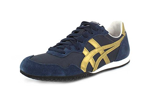 Onitsuka Tige Unisex Serrano Sport Shoe, Navy/Gold, 9.5 M US Women/8 M US Men - Tigers Navy Blue Mesh