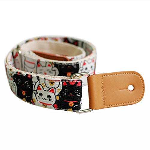 "MUSIC FIRST Original Design ""Fortune Cats (Maneki Neko)"" Soft Cotton & Genuine Leather Ukulele Strap Ukulele Shoulder Strap"
