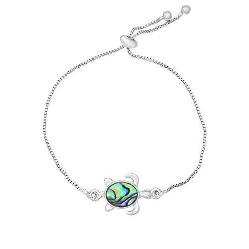 Abalone Cuff Bracelet - RUXIANG Abalone Shell Turtles Bangle Blue Sea Stone Chain Cuff Bracelet Bangle(silver)