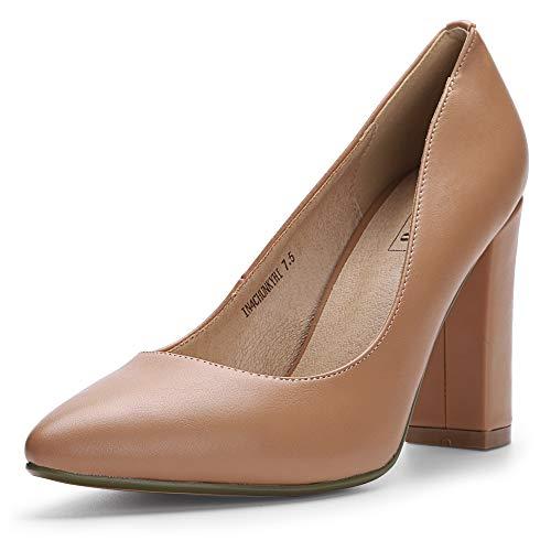IDIFU Women's IN4 Chunky-HI Classic Closed Pointed Toe Pumps High Chunky Block Heels Dress Office Shoes (6 M US, Nude Pu) ()
