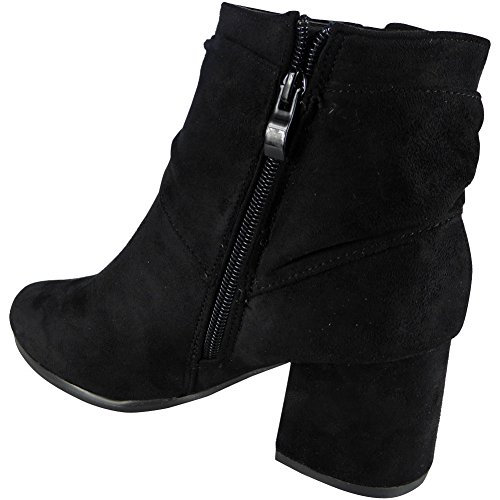 Block Heels Shoes Look Loud Bow Ladies Casual Ankle Womens Winter Chelsea Black Comfy Boots Size awFwCqT