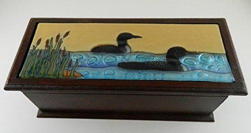 Loon Fused Art Glass Birds Rectangular Wooden Treasure Box Lodge Made Ecuador