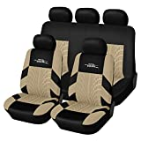 AUTOYOUTH Car Seat Covers Universal Fit Full Set Car Seat Protectors Tire Tracks Car Seat Accessories - 9PCS,Beige: more info