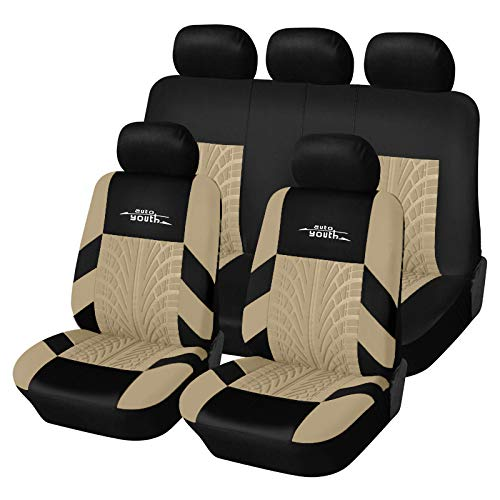 AUTOYOUTH Car Seat Covers Universal Fit Full Set Car Seat Protectors Tire Tracks Car Seat Accessories - 9PCS,Beige by AUTOYOUTH (Image #6)