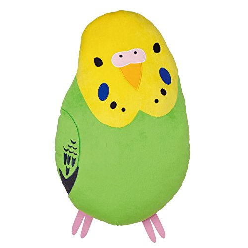 Soft and Downy Bird Stuffed Plush Type Large Size Cushion (Bird-Collection Series) (Budgies / Green)
