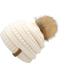 Kids Girls Boys Winter Knit Beanie Hats Faux Fur Pom Pom Hat Bobble Ski Cap  Toddler de9609a1825f