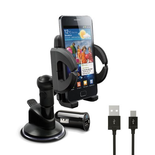 iLuv Windshield Mount Kit with Power Combo Pack for Smartphones