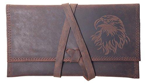 Drehertasche, Tabaktasche, Tabakbeutel, Büffelleder Echt Leder Tobacco Pouch Unisex (braun) Braun-Motiv