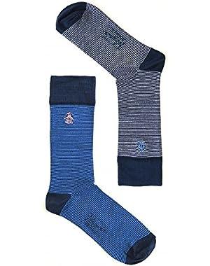 2-Pack Fine Stripe Bamboo Men's Socks, Navy/Blue