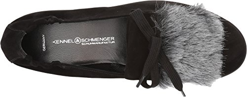 Kennel & Schmenger Womens Malu Flat Nero Scamosciato / Faux Fur