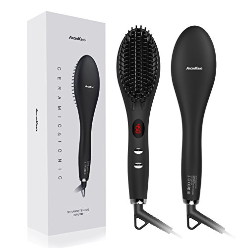 New Ceramic Brush Hair (Hair Straightening Brush 2.0, ARCHIKING Ceramic Ionic Hair Straightener Brush with Double Anion Anti-scald Fast Heating Electric Auto Shut Off Dual-Voltage Perfect for Travel)
