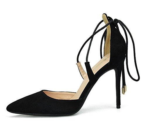 Vestir Estilete Alto pie Cruzar Tobillo del Boda Sandalias Fiesta Puntiagudo Dedo black Mujer Zapatos Ante Tacón ZPL Zapatillas Correa Corte pxXqY6n8