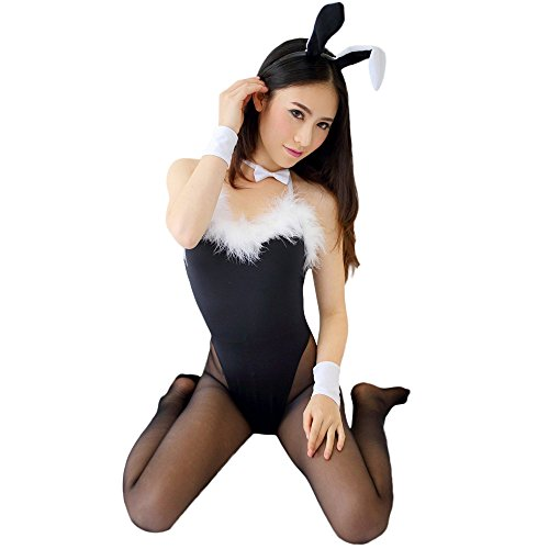 GoldWish Lingerie Bunny Dress Bunnies Costume Babydoll TEDDY Uniform Camisole (Black) (Sexy Bunny Lingerie)