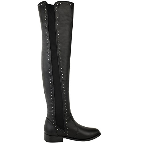 Leather Knee Black Ladies Boots Thigh Faux Studded High Size Stretchy Pull On The Flat Womens Over CZawXqq