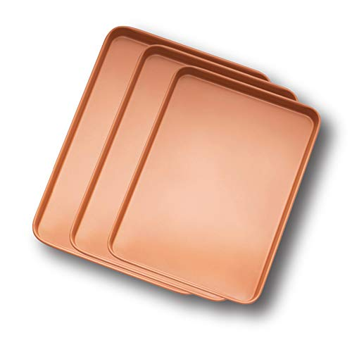 (Gotham Steel Baker's Cookie Sheet and Baking Pan Set - Heavy Duty Aluminum 0.8MM Gauge, Nonstick Copper Surface, Dishwasher Safe - 3 PACK)