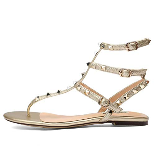 CHRIST Women's Leather Studded Open Toe Sandals T-Strap Slingback Flats Backless Dress Gladiator Sandals Gold 5