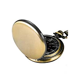 Steampunk Vintage Pocket Watch,Stainless Steel Quartz Pocket Watch 14'' Chain for Xmas Fathers Day Gift (Green Bronze)
