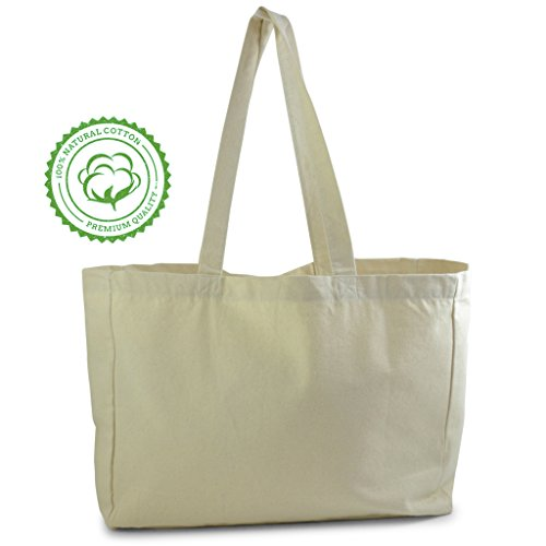 Natural Color Cotton Tote Bag, perfect for beach, grocery shopping, craft projects - extra thick, large, durable,washable,100% ()