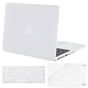 MOSISO Case Only Compatible MacBook Pro (W/O USB-C) Retina 13 Inch (A1502/A1425)(W/O CD-ROM) Release 2015/2014/2013/end 2012 Plastic Hard Shell & Keyboard Cover & Screen Protector, White