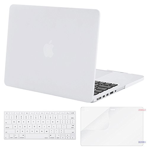 Mosiso Plastic Hard Case with Keyboard Cover with Screen Protector Only for MacBook Pro 13 Inch with Retina Display No CD-Rom (A1502/A1425, Version 2015/2014/2013/end 2012), White