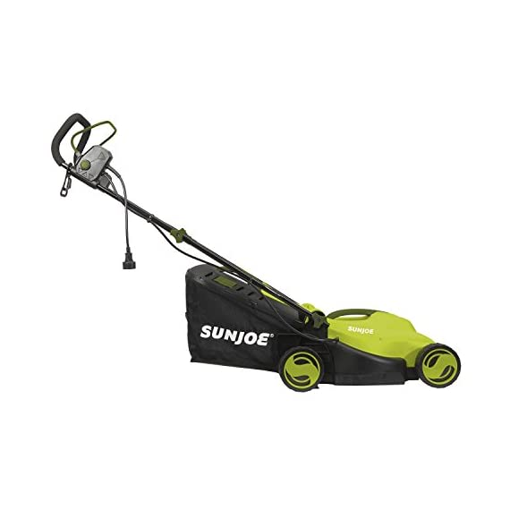 Sun Joe MJ400E 12-Amp 13-Inch Electric Lawn Mower w/ Grass Collection Bag 3 Powerful: 12-amp motor cuts a crisp 13.4 in. Wide path Adjustable deck: customize your cut with 3-position adjustable Height control: 0.98 in., 1.77 in., 2.56 in Lightweight: compact design is ideal for maneuvering around small lawns