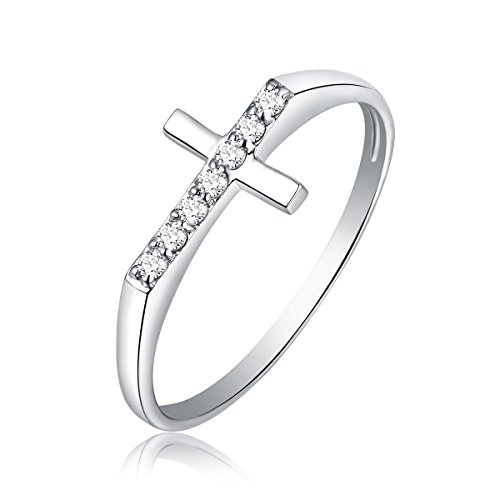 0.098 Cttw Diamond Cross Promise Engagement Ring in 10k White Gold Size 7 (G-H Color, SI2-SI3 Clarity) by YOBO Jewelry