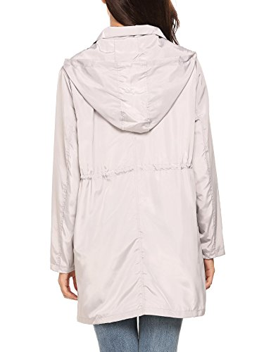 Dethler Women Raincoat Waterproof Windproof Lightweight Outdoor Jacket Zip-up Drawstring Hooded by Dethler (Image #4)