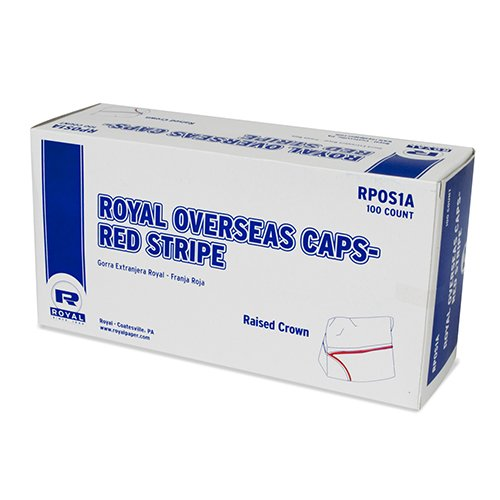 Case of 1000 Royal Red Striped Disposable Overseas Caps