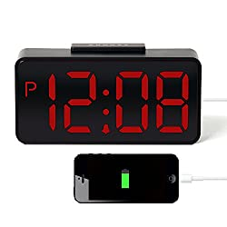 HITO USB Powered Large Display 3 LED Alarm Clock w/ Hi-Low Alarm Volume, USB Charging- AC Adapter included